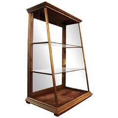 1920s Antique Nickel Framed Slant Front Store Display Case