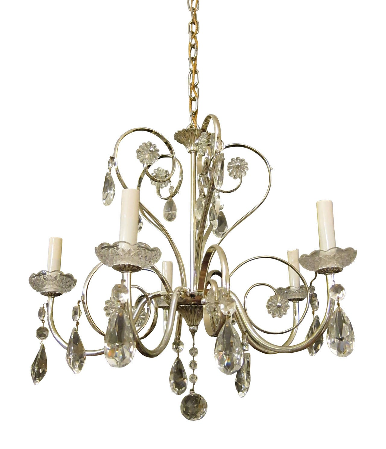 1950s French Silver Plated Crystal Chandelier For Sale at