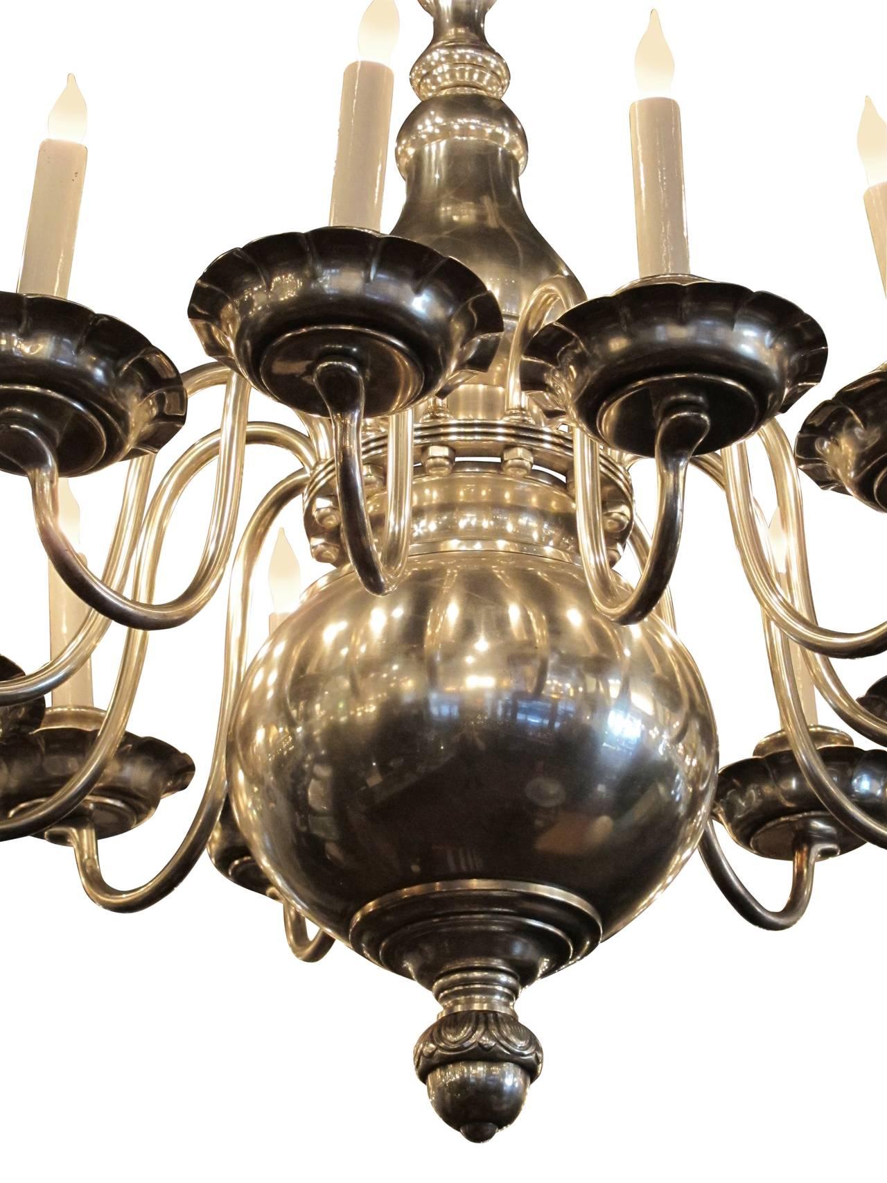 1900s Williamsburg Style Nickeled Bronze 12 Light