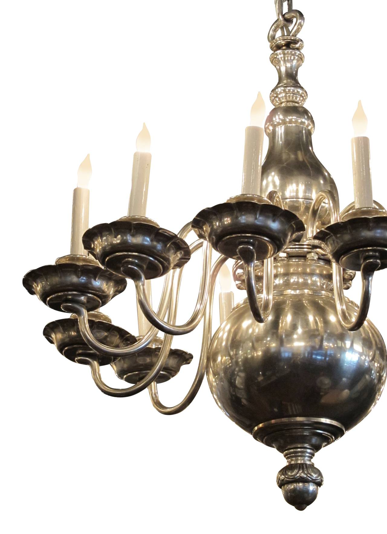 1900s williamsburg style nickeled bronze 12 light for Williamsburg style lighting