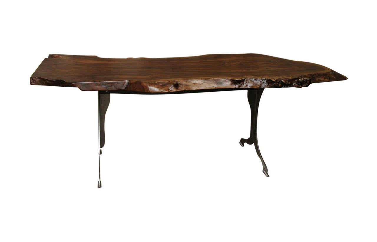Thick single slab live edge claro walnut table with for Single leg dining table