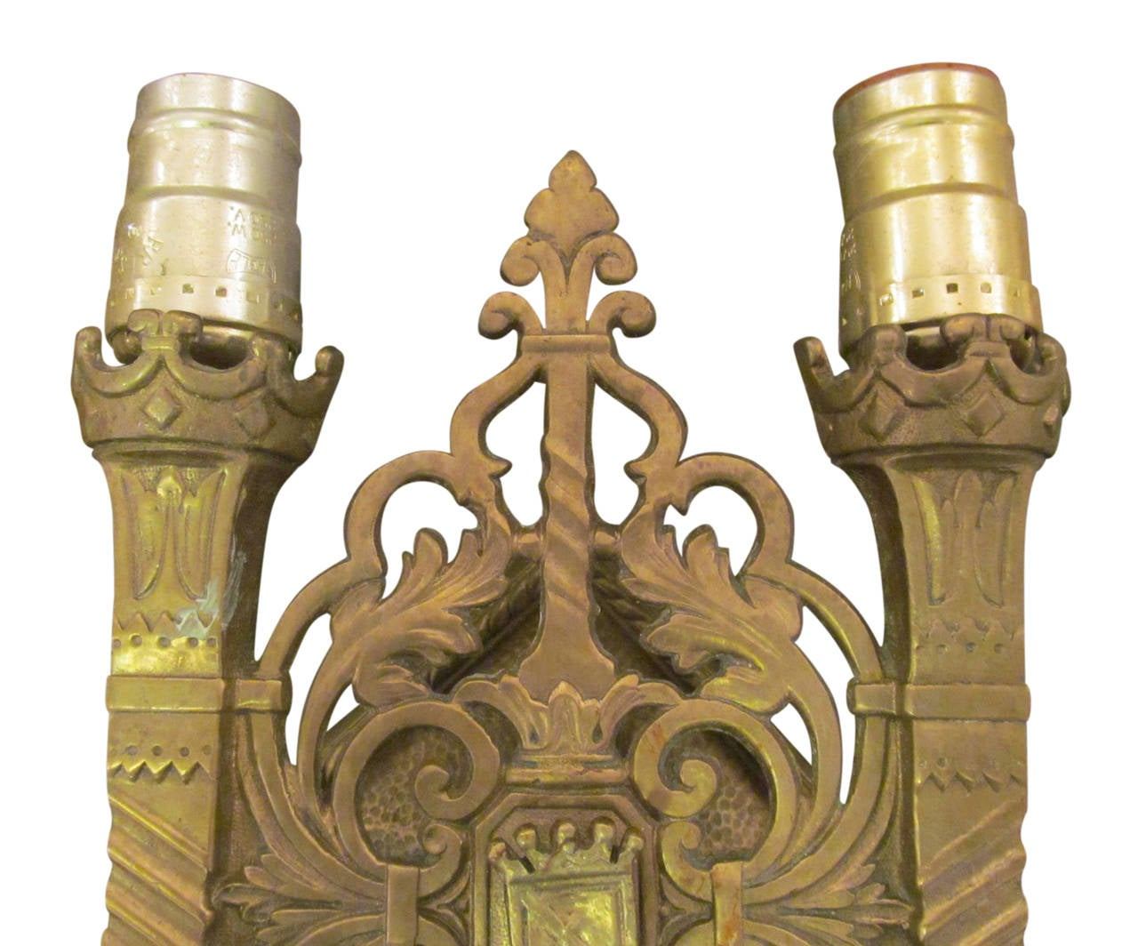 American 1920s Pair of Heavy Cast Bronze Shield Sconces with Two Lights Each For Sale