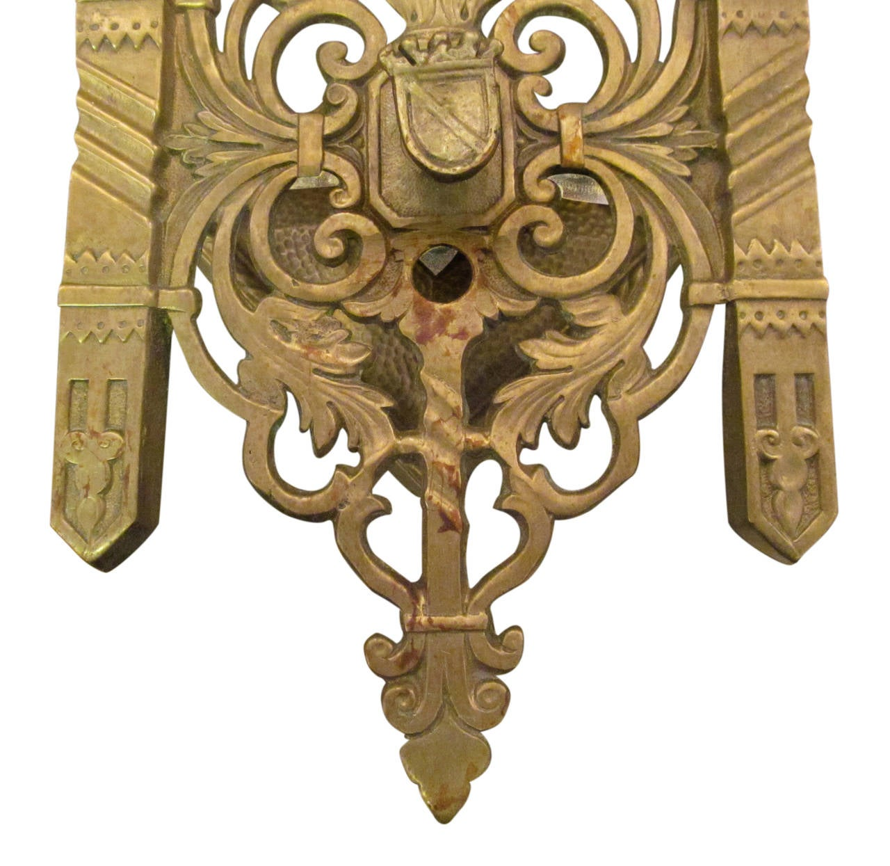 1920s Pair of Heavy Cast Bronze Shield Sconces with Two Lights Each In Excellent Condition For Sale In New York, NY