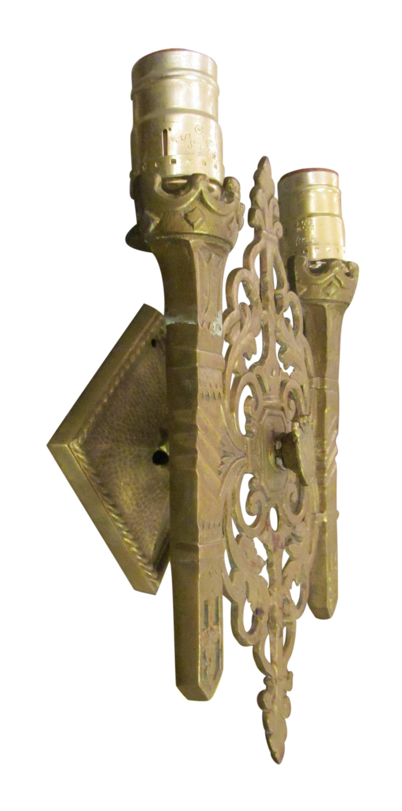 Early 20th Century 1920s Pair of Heavy Cast Bronze Shield Sconces with Two Lights Each For Sale