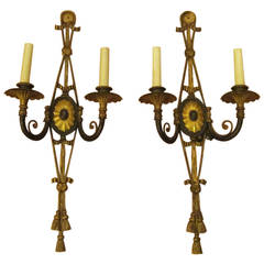 Pair of Caldwell Bronze Sconces with Triple Tassels and Center Spider Web, 1920s