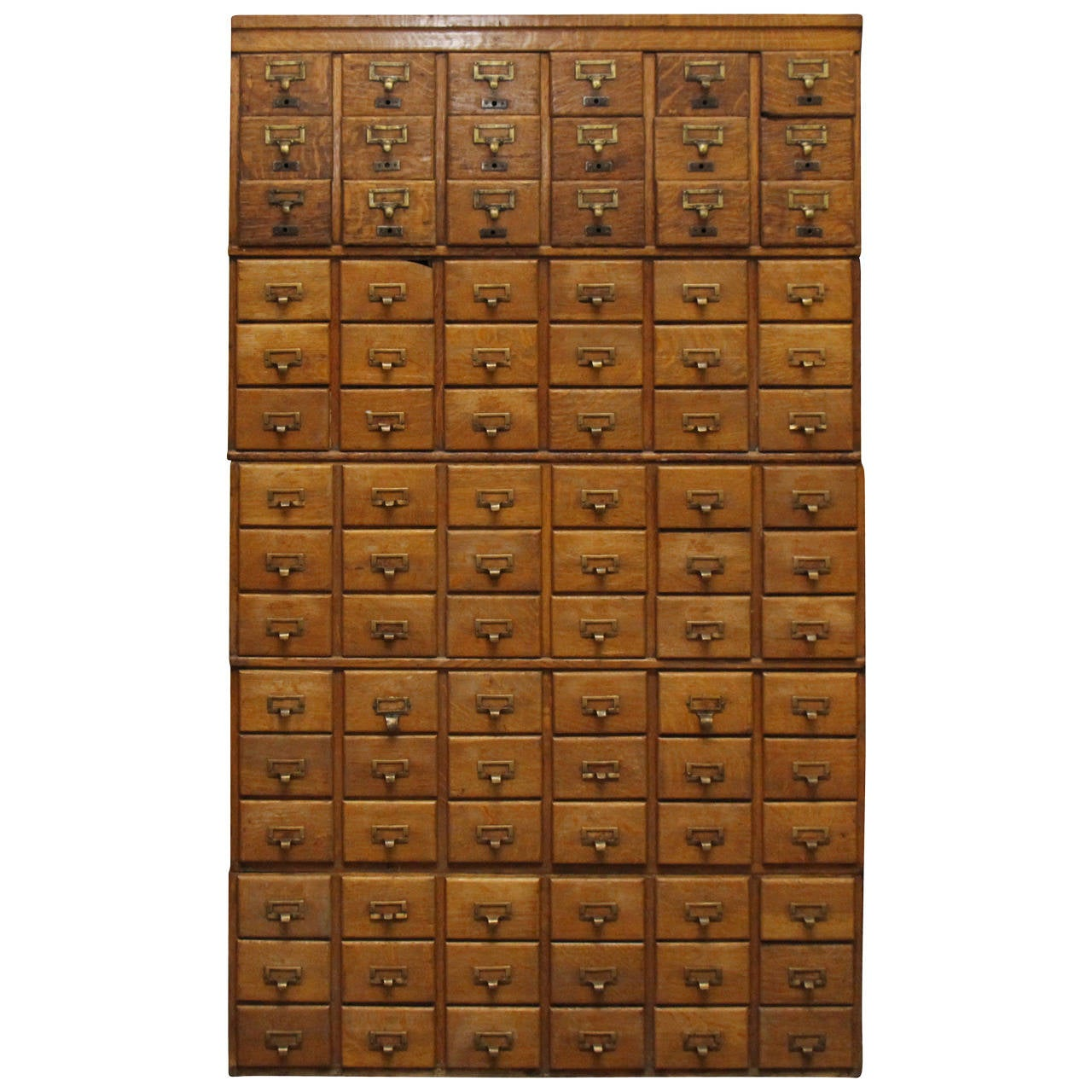 1930s Stackable 90 Drawer Tiger Oak Card Catalog Filing