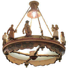 1920s Dutch Hand-Carved Wooden Chandelier with Figures and Grapes
