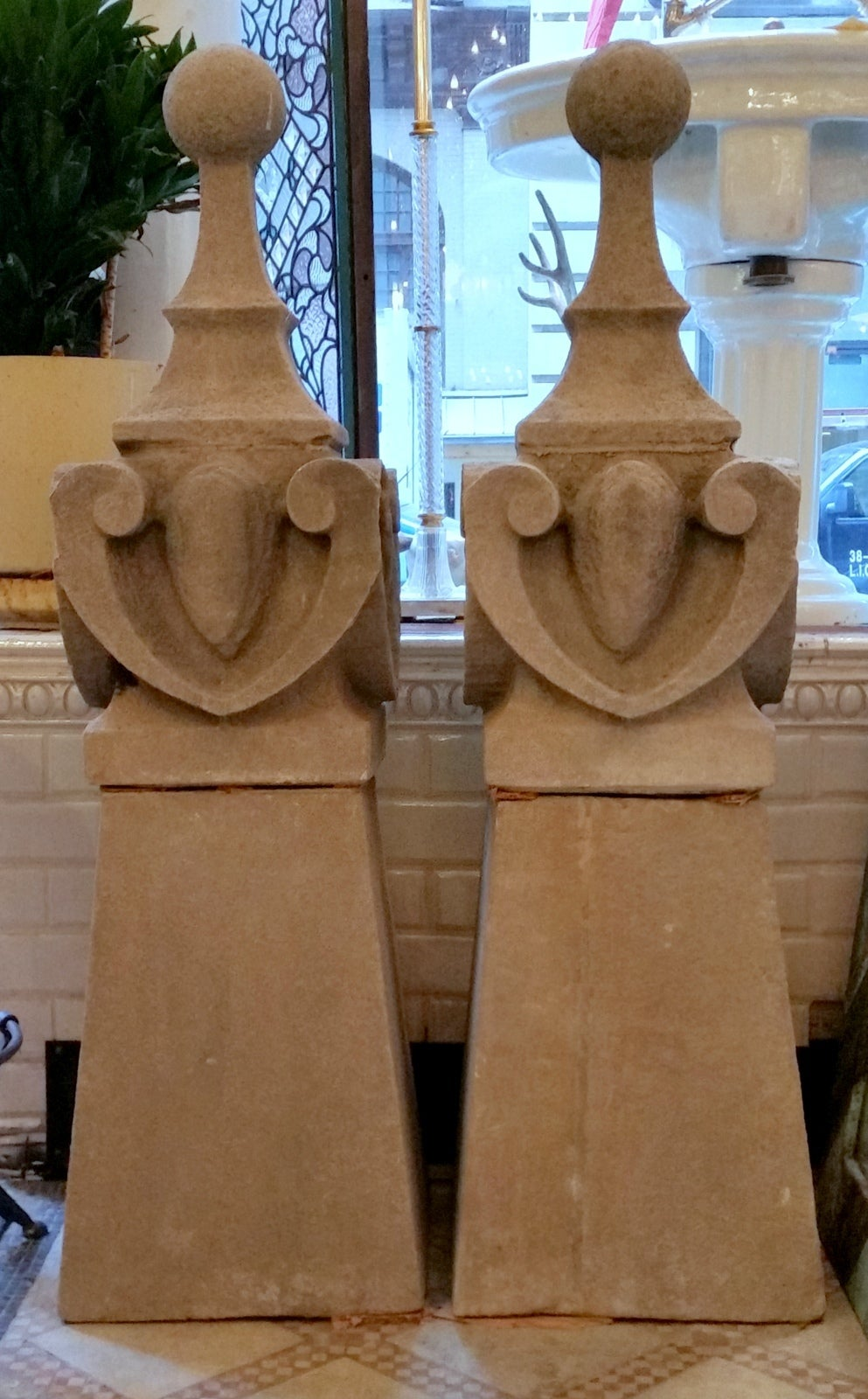1896 Pair of Hand-Carved Limestone Obelisk Finials with Bases For Sale 4