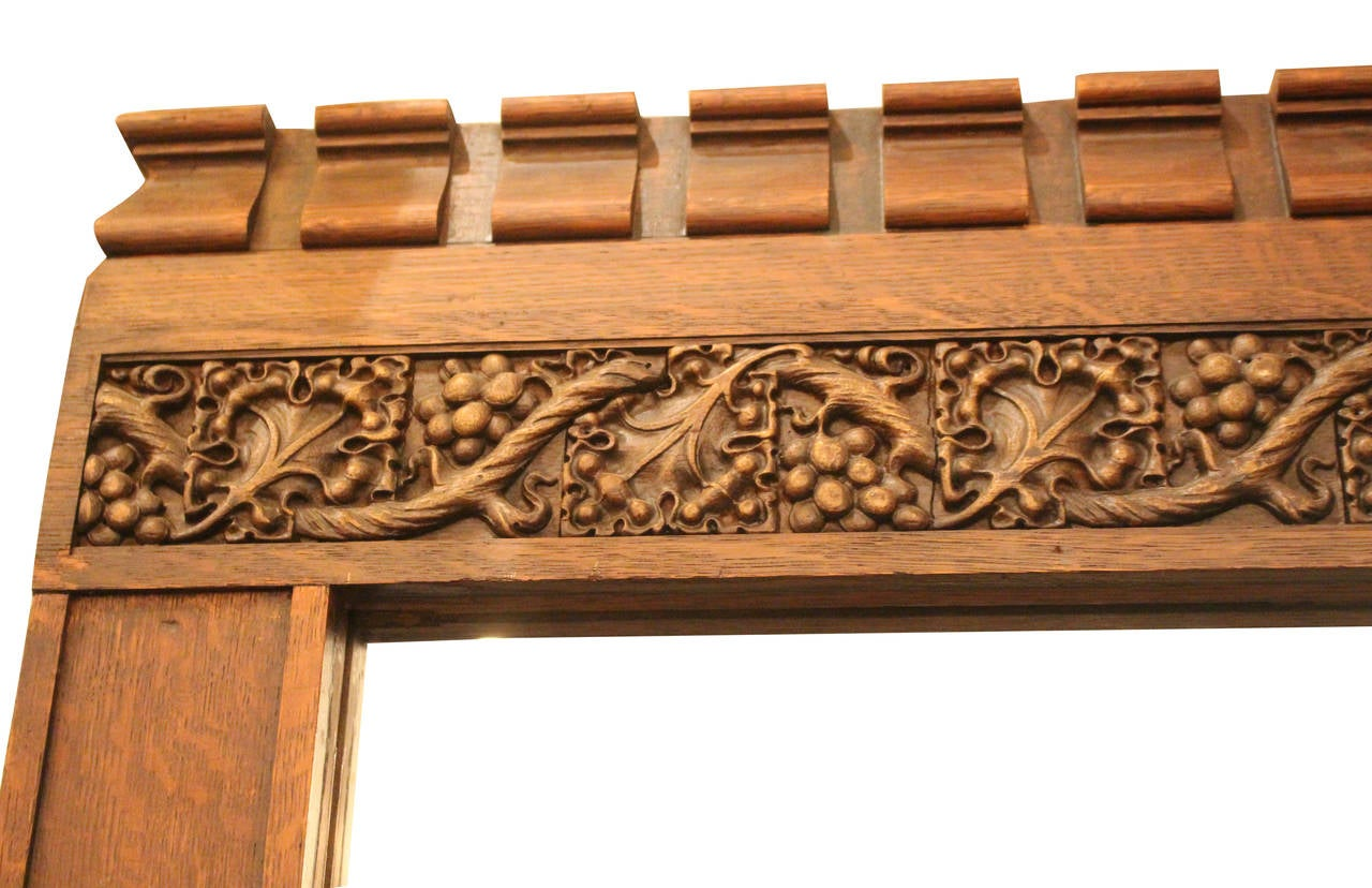 1930s Tiger Oak Molding Mirror With Ornate Carved Grapes