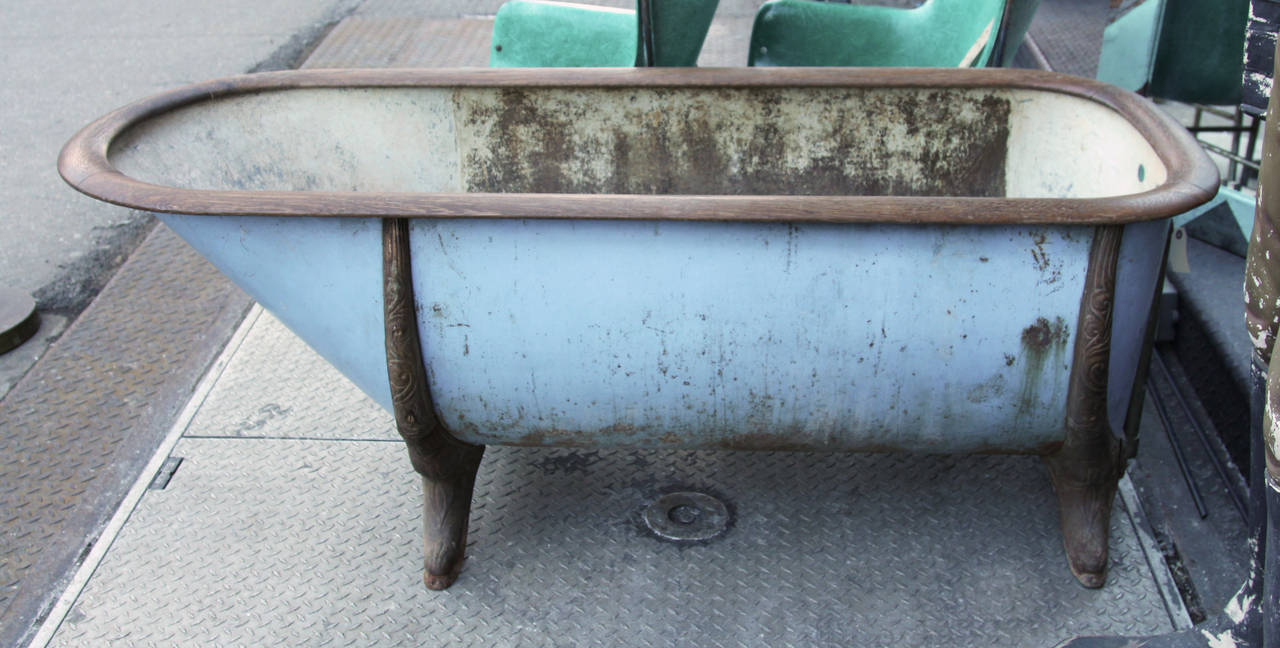 Late 1800s Zinc and Cast Iron Bathtub with Oak Trim from Lowa at 1stdibs