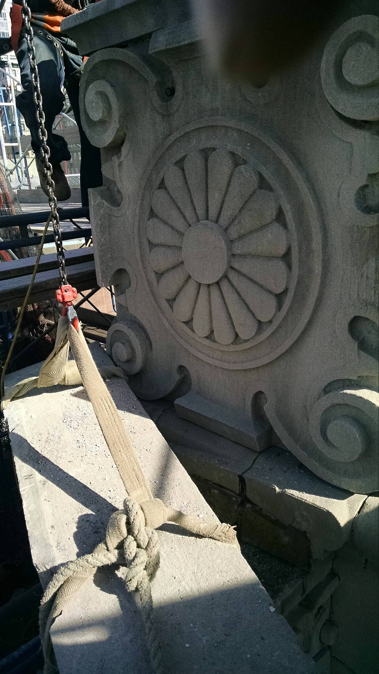 These hand-carved limestone obelisks with decorative base were salvaged from a church building on 3 West 29th St. in Manhattan. They adorned the top outer corners of the building's roof. The 17 foot height is for the limestone only, not counting the