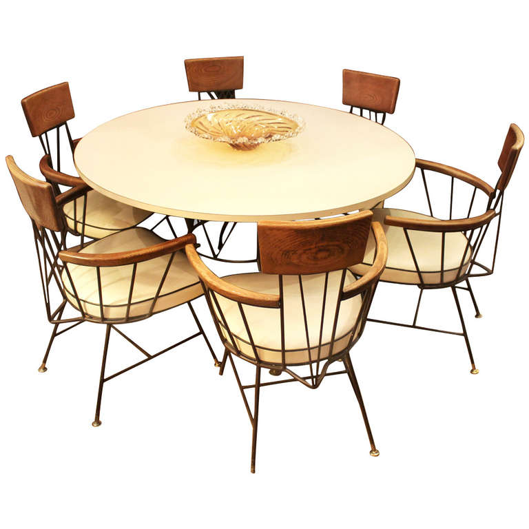 Mid century modern dining set with table and six chairs by for Dining room table and 6 chairs