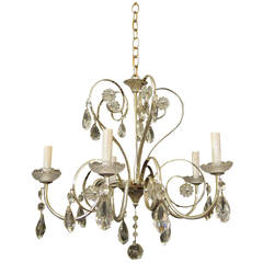 1950s French Silver Plated Crystal Chandelier