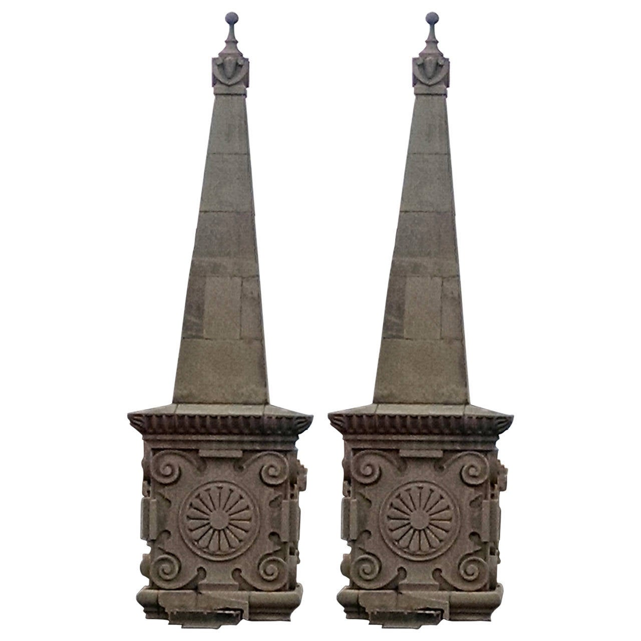 1896 Pair of Hand-Carved Limestone Obelisk Finials with Bases