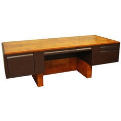 "1974 Paul Evans Cantilevered Burled Walnut and Chrome ""Cityscapes"" Desk"
