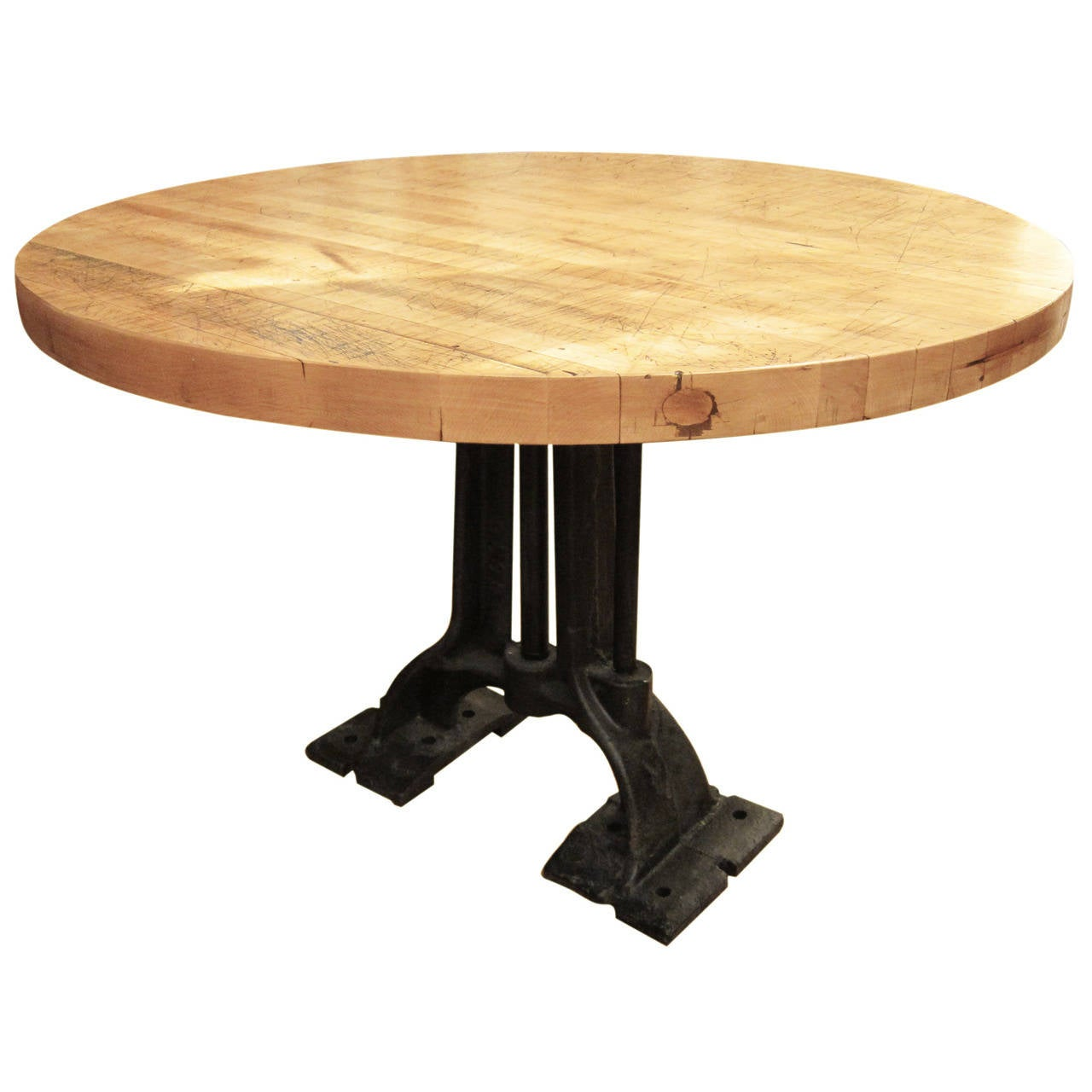 refurbished round butcher block table with heavy cast iron base for sale at 1stdibs. Black Bedroom Furniture Sets. Home Design Ideas