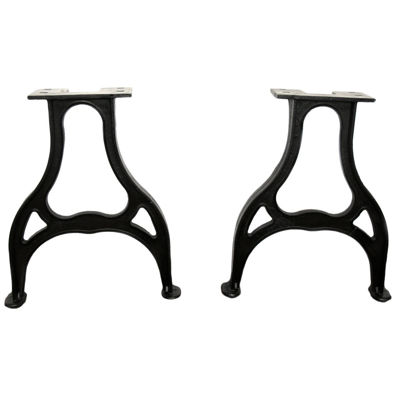 Pair of pear shaped industrial machine cast iron table for Cast iron table legs for sale