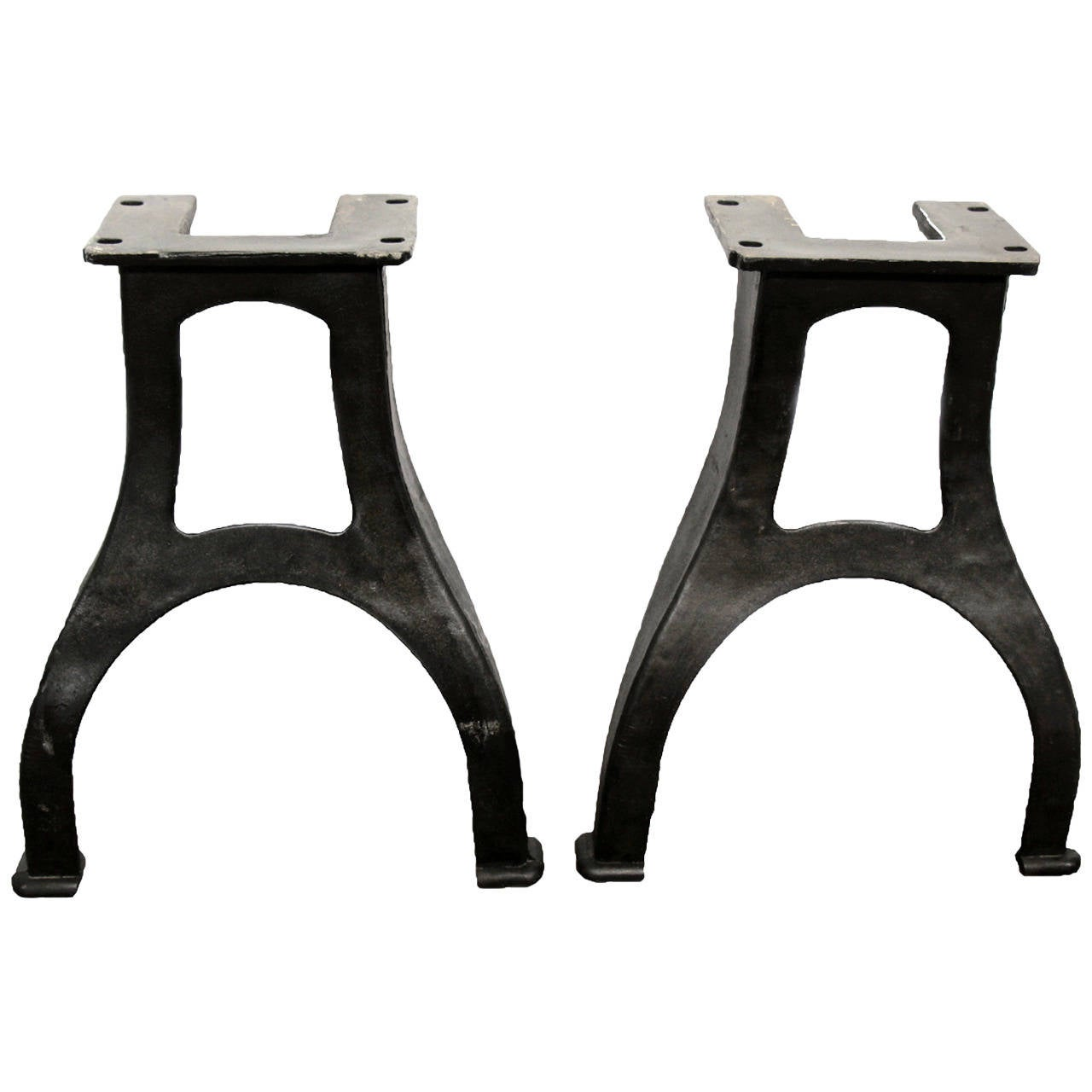 Pair Of Curved Victorian Style Industrial Machine Cast Iron Table Legs At 1stdibs