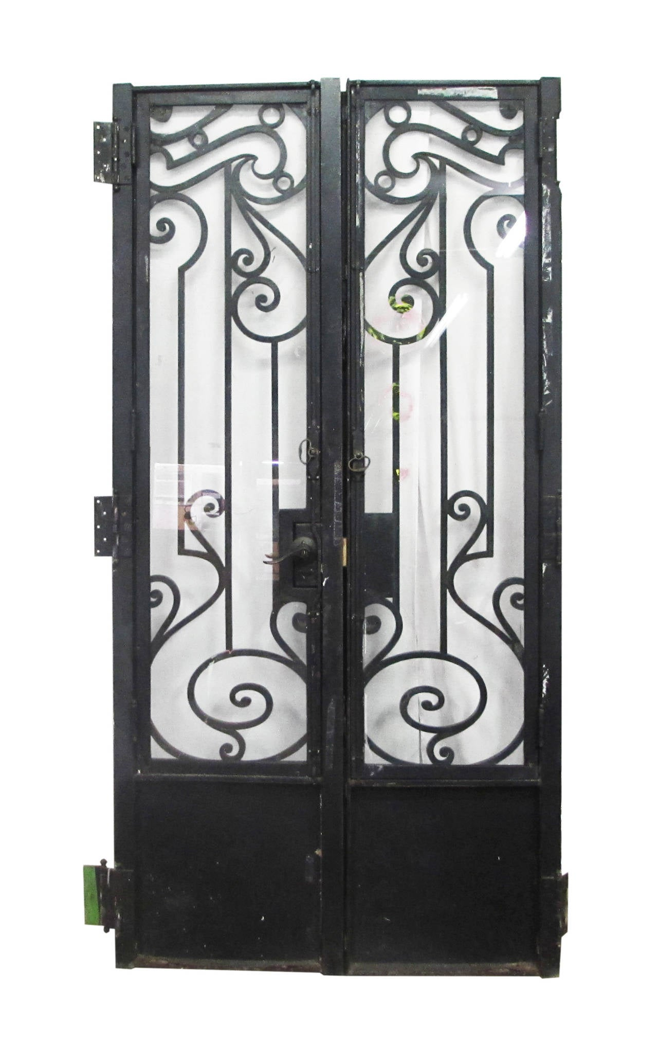 2063 #5F6A4A  Nouveau Brownstone Iron Door Set With Matching Sidelights At 1stdibs pic Metal Entry Doors With Sidelights 39211280