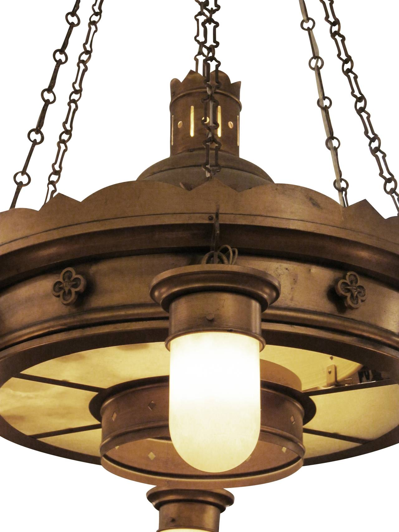 1940s brooklyn church brass and steel downlight chandelier with american 1940s brooklyn church brass and steel downlight chandelier with original shades for sale arubaitofo Images