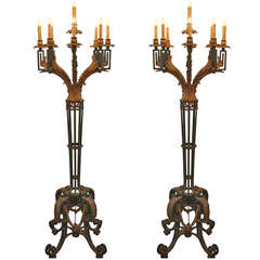 1954 Pair of Wrought Iron Nine Light Candelabras from the Fountainebleau Hotel