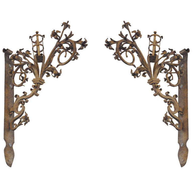 Pair of German Hand-Forged Gold Gilded Floral Sconces