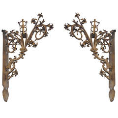 Early 1900s Pair of German Hand-Forged Gold Gilded Floral Sconces
