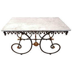 Marble Top Cast Iron French Pastry or Butcher's Table