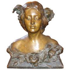 Art Nouveau Bronze Bust of a Woman