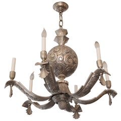 1920s Nickeled Bronze French Art Deco Six-Arm Chandelier with Scalloping