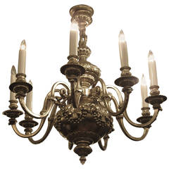 1920s English Made Silvered Bronze Eight-Light Chandelier with Laurels and Fruit