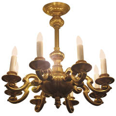 1920s Georgian Style Eight-Arm Gold-Plated Aluminium Chandelier