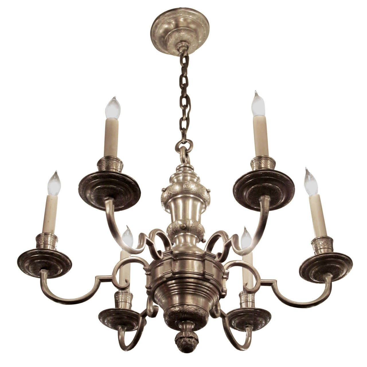 Georgian Chandelier: 1920s, Georgian Silver Plated Bronze Chandelier With Six