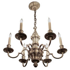 1920s, Georgian Silver Plated Bronze Chandelier with Six Arms