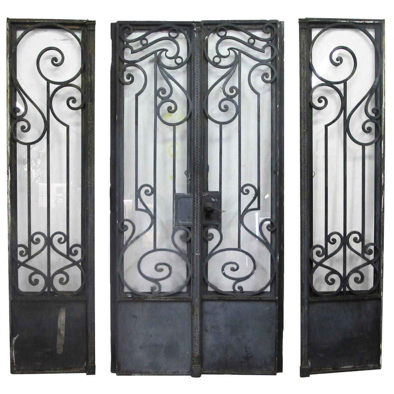 1280 #6D715A  Nouveau Brownstone Iron Door Set With Matching Sidelights At 1stdibs pic Metal Entry Doors With Sidelights 39211280