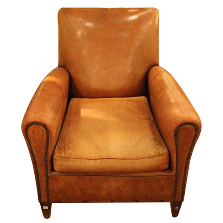 Single 1940s French Club Chair With Rivets At 1stdibs