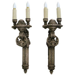 1900s Pair of Carved Wood Double-Arm Sconces