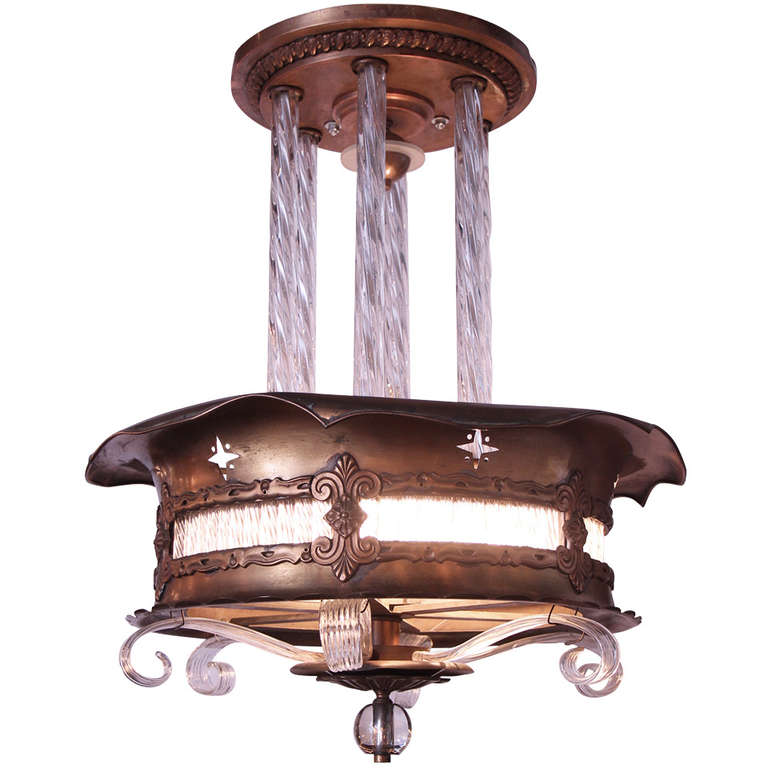 deco bronze and glass theater light at 1stdibs