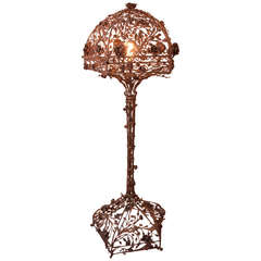 Incredible Iron Floor Lamp with Gilted Floral and Leaf Motif