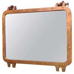 Bronze Porthole Mirror with Hinges