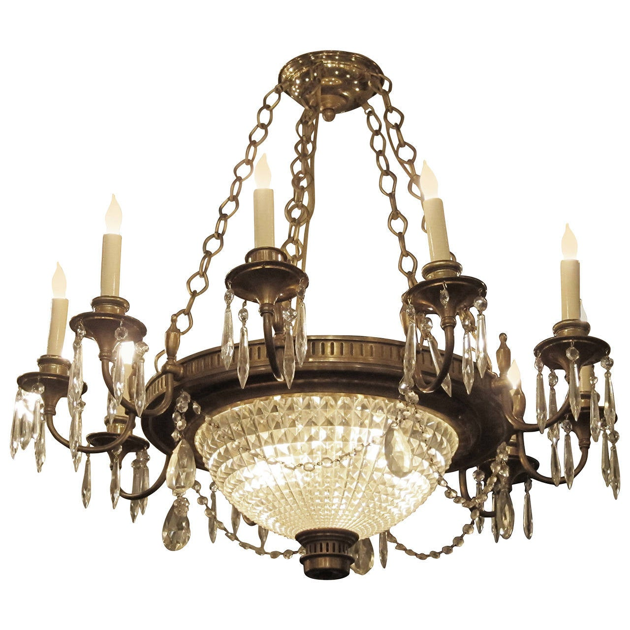 1920s French Empire Style Crystal and Bronze Twelve-Arm Chandelier
