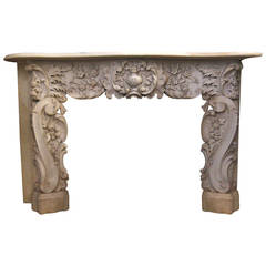 1860s Hand-Carved Rococo White Statuary Marble Mantel from 5th Ave, NYC