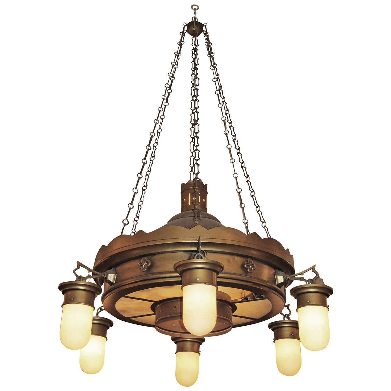 1940s brooklyn church brass and steel downlight chandelier with original shades at 1stdibs - Can light chandelier ...