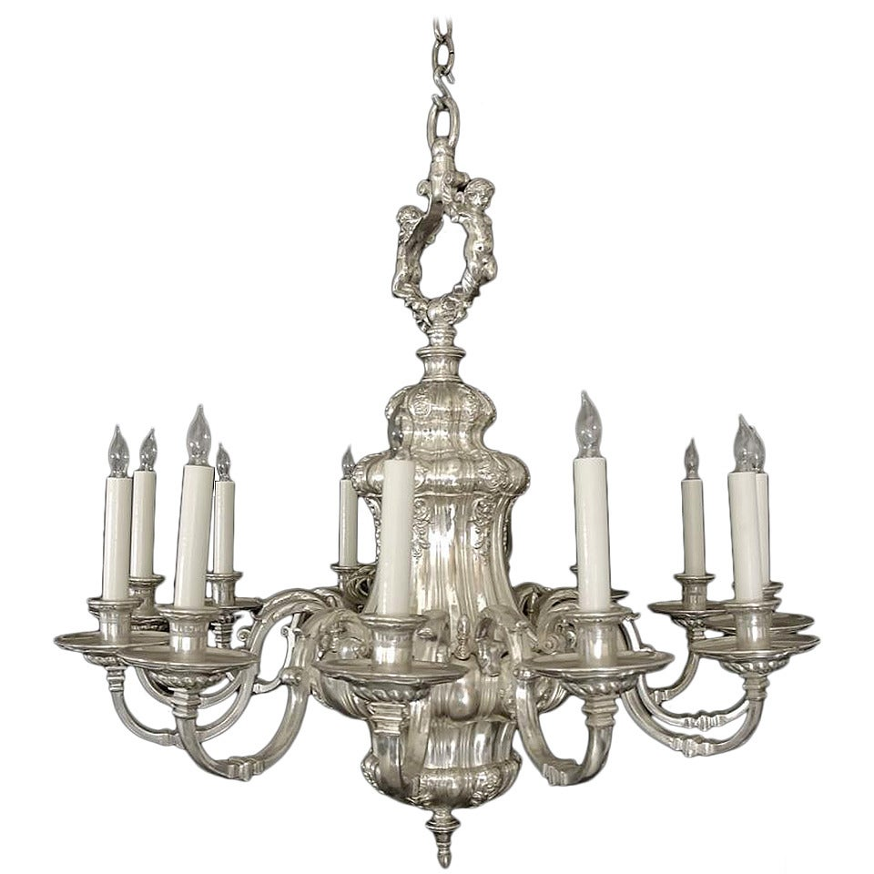 1900s Silvered Bronze Twelve-Light Chandelier by E. F. Caldwell