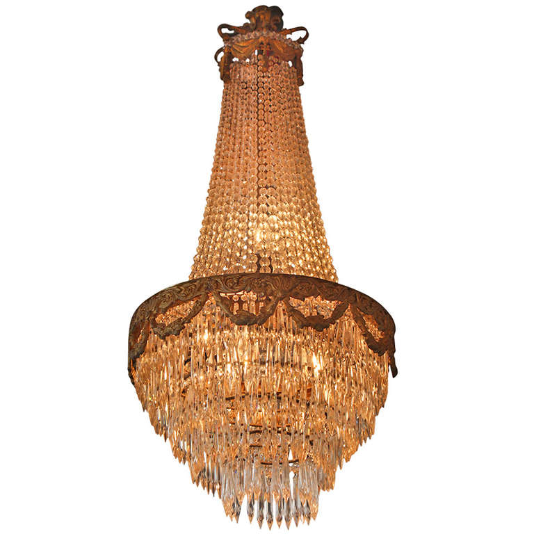 Empire Style Bronze and Crystal Tiered Chandelier at 1stdibs
