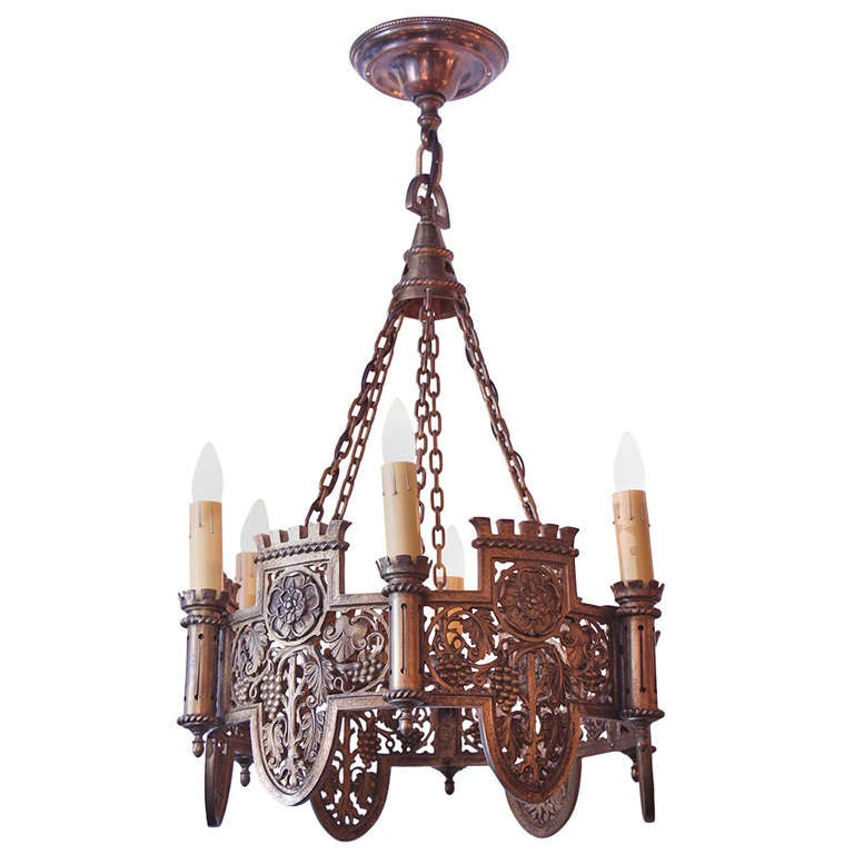 Beautifully Detailed Six Light Bronze English Tudor Style