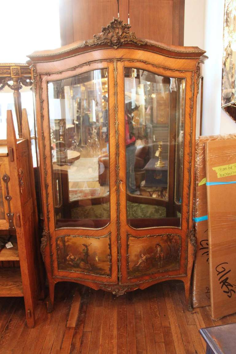 French Vernis Martin display cabinet. This Fine quality French 19th century  vitrine features elegantly carved - 19th Century Antique Two-Door French Display Cabinet Or Vitrine By