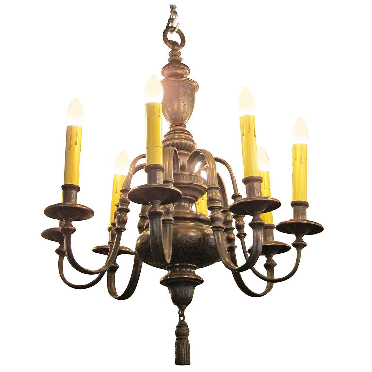 Georgian Chandelier: 1910 Georgian Style Bronze, Eight-Light Chandelier By E. F
