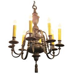 1910 Georgian Style Bronze, Eight-Light Chandelier by E. F. Caldwell