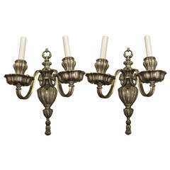 1910 Pair of Silvered Bronze Georgian Style, Two-Light Sconces by E. F. Caldwell